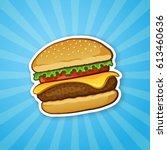 vector illustration. hamburger...   Shutterstock .eps vector #613460636