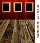 frame an red wall in room 1 - stock photo