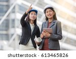 the construction manager and... | Shutterstock . vector #613465826