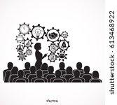 businessman giving a... | Shutterstock .eps vector #613468922