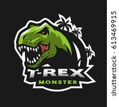 dinosaur head logo  emblem. t... | Shutterstock .eps vector #613469915