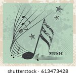 music notes  vintage bstract... | Shutterstock .eps vector #613473428
