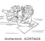 little girl drawing heart on... | Shutterstock .eps vector #613476626
