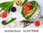 healthy salad with chicken ... | Shutterstock . vector #613479848