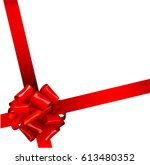 shiny red satin curly bow and... | Shutterstock .eps vector #613480352