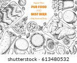 pub food frame vector... | Shutterstock .eps vector #613480532