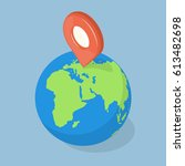 gps pointer on planet earth.... | Shutterstock .eps vector #613482698