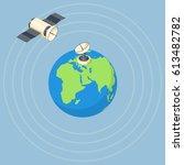 orbit and dish satellite on... | Shutterstock .eps vector #613482782