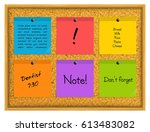 colorful sticky notes pinned to ... | Shutterstock .eps vector #613483082