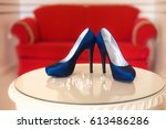 designer blue high heels shoes    Shutterstock . vector #613486286