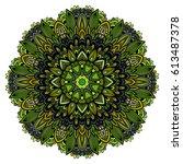 mandala. round ornament pattern.... | Shutterstock .eps vector #613487378
