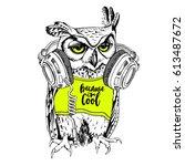 owl in a neon yellow t shirt... | Shutterstock .eps vector #613487672