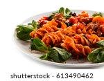 pasta with tomato sauce | Shutterstock . vector #613490462