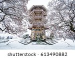 the patterson park pagoda in... | Shutterstock . vector #613490882
