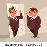 fat man office worker character ... | Shutterstock .eps vector #613491728