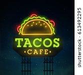 tacos road sing. city sign neon.... | Shutterstock .eps vector #613492295