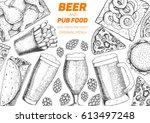 pub food frame vector... | Shutterstock .eps vector #613497248