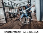 we are the winners   four young ... | Shutterstock . vector #613503665