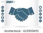 handshake icon vector... | Shutterstock .eps vector #613503692