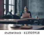 full concentration at work....   Shutterstock . vector #613505918