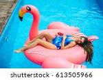 beautiful pregnant woman ...   Shutterstock . vector #613505966