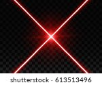 abstract red laser beams.... | Shutterstock .eps vector #613513496