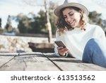 beautiful female traveler... | Shutterstock . vector #613513562