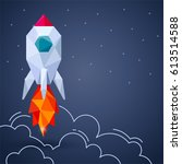 banner with space rocket on... | Shutterstock .eps vector #613514588