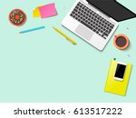 modern workspace vector set... | Shutterstock .eps vector #613517222