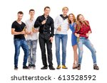 it's party time  group of happy ... | Shutterstock . vector #613528592
