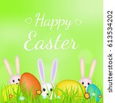 happy easter. rabbits and... | Shutterstock .eps vector #613534202