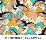 ethnic seamless pattern with... | Shutterstock .eps vector #613539998