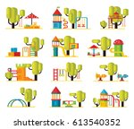 colorful playground elements... | Shutterstock .eps vector #613540352