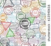 retro postal seamless pattern... | Shutterstock .eps vector #613540616