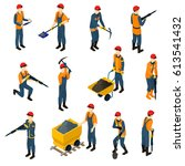 isometric miners set with... | Shutterstock .eps vector #613541432