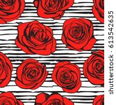 abstract roses seamless pattern.... | Shutterstock .eps vector #613542635