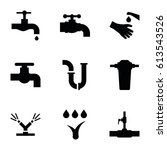 faucet icons set. set of 9...   Shutterstock .eps vector #613543526