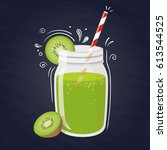 kiwi smoothie. vector healthy... | Shutterstock .eps vector #613544525