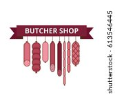 butcher shop banner. meat and... | Shutterstock .eps vector #613546445
