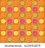vector citrus fruits  orange ... | Shutterstock .eps vector #613551875