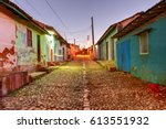 colorful traditional houses in... | Shutterstock . vector #613551932