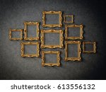 gold frames isolated on a black ... | Shutterstock . vector #613556132