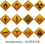 12 Glossy Hazard Signs. The...