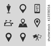 gps icons set. set of 9 gps...