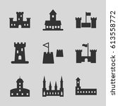 fortress icons set. set of 9...   Shutterstock .eps vector #613558772