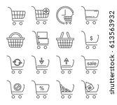 set of shopping cart related... | Shutterstock .eps vector #613563932