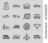 transportation icons set. set... | Shutterstock .eps vector #613566635