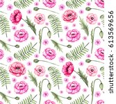 seamless pattern of watercolor... | Shutterstock . vector #613569656