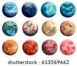 Set Of Watercolor Blue  Red An...