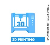 3d printer icon in flat style...